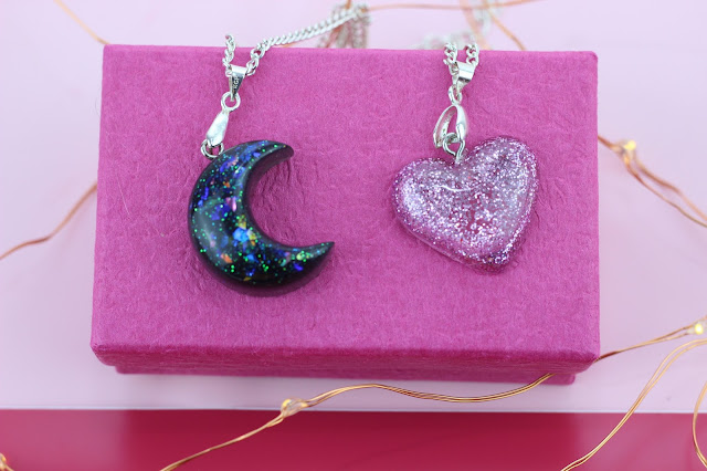 unicorn born small resin heart necklace resin moon necklace