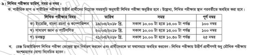 Bangladesh Police Sub-Inspector (unarmed) Circular 2018 Recruitment Written Test Date, Time and Mark Distribution