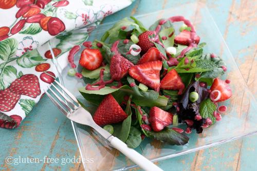 Gluten-Free Goddess Fresh Strawberry Spinach Salad with Berry Dressing