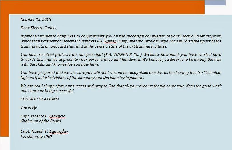 F A VINNEN & CO  CONGRATULATES THEIR NTC-M ELECTRO CADETS