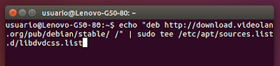 "echo ""deb http://download.videolan.org/pub/debian/stable/ /"" 