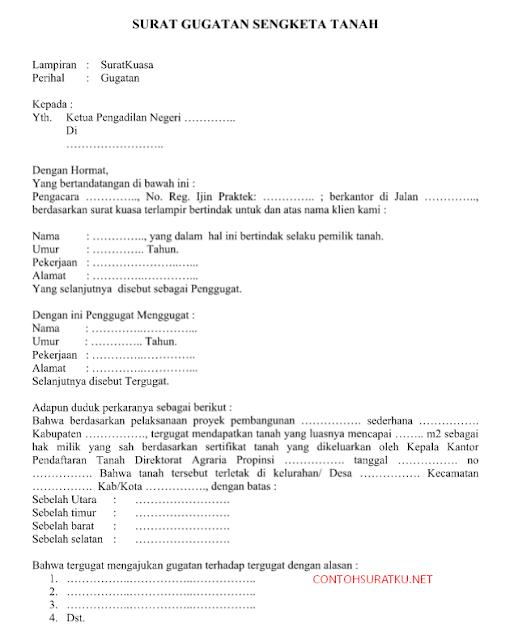 Contoh Surat Gugatan Sengketa Tanah  Lahan Format Word Doc