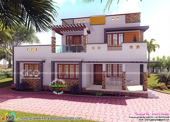 3 BHK flat roof 2585 square feet home