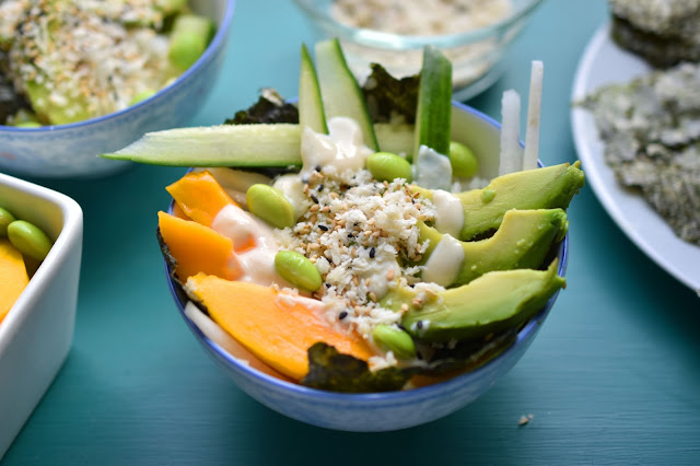 Spicy Sushi Bowls, made with avocado, edamame, mango and a vegan spicy mayo