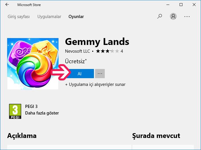 Windows 10 Microsoft Mağazası'ndan oyun indirme - www.ceofix.com