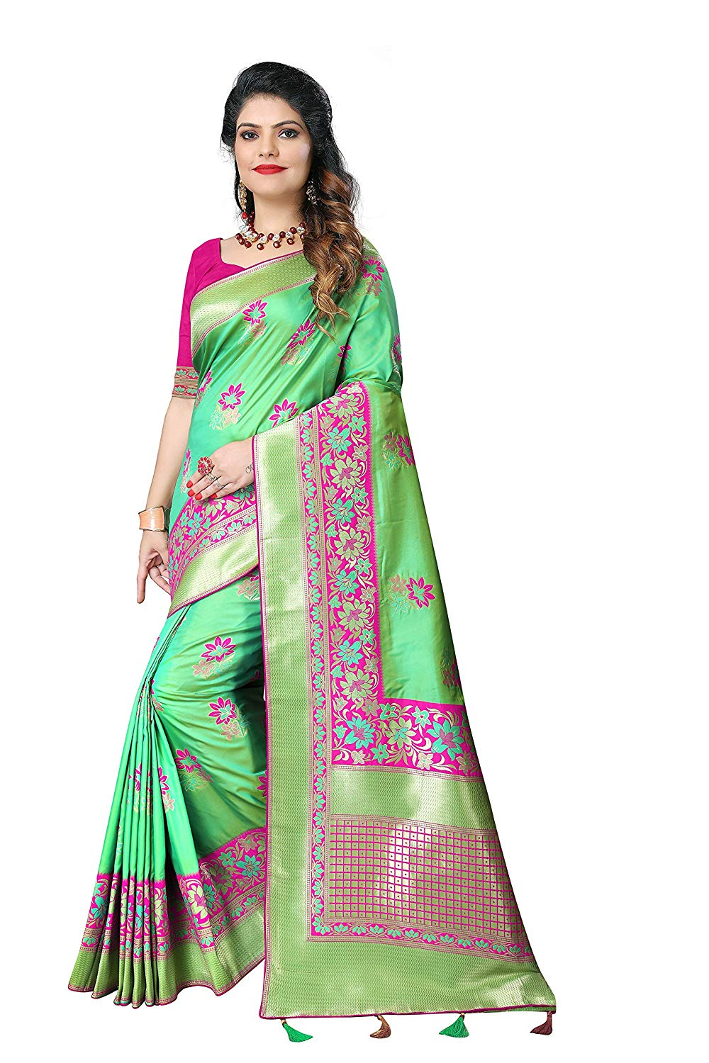 Silky Sarees Women Banarasi Silk Saree With Heavy Blouse Piece
