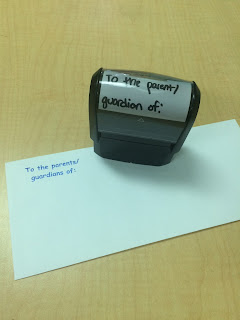 Counselor must haves: self inking stamp for letters to parents/guardians