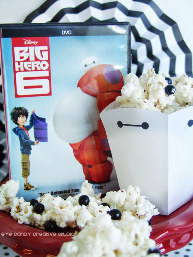 Big Hero 6 movie, Baymax popcorn boxes, Baymax popcorn recipe, movie night