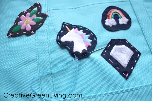 How to sew decorative patches onto a tote bag