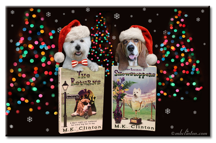 The Returns book series proudly displayed for Christmas gift giving by Pierre Westie and Bentley Basset Hound