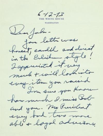 BOOKTRYST Nixon To Ehrlichman Miss You and Haldeman, Love You, We - nixon resignation letter