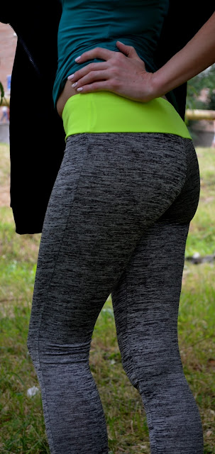 Space Dyed Color Spliced Leggings - Neon Green