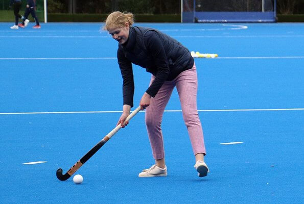 Lady Louise Windsor plays hockey as she attends an England Hockey team training session at Bisham Abbey National Sports Centre