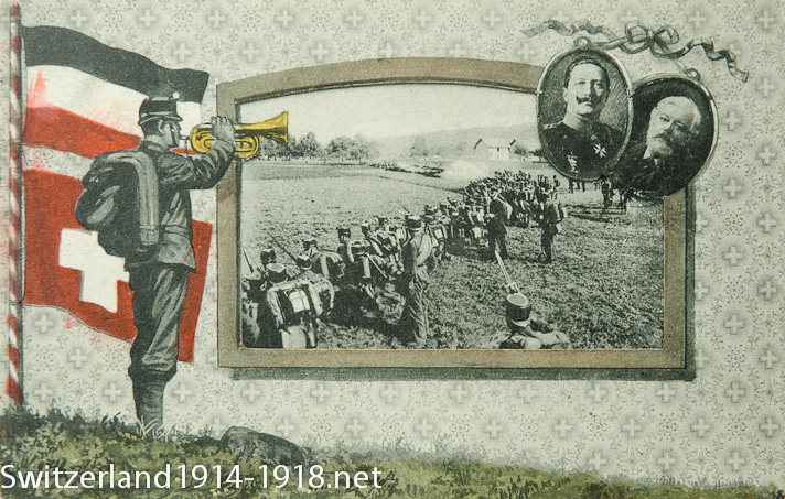 Carte postale illustrant la visite du Kaiser en 1912 (via www.switzerland1914-1918.net)