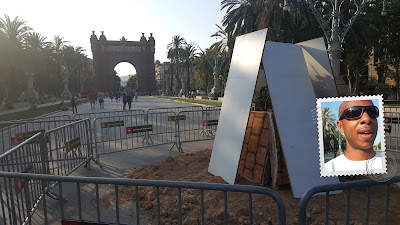 Municipal bonfires by the Arch of Triumph, ready to be lit for San Juan