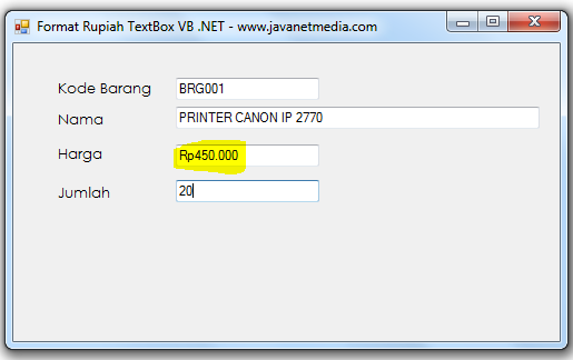 Membuat Format Mata Uang Rupiah Pada VB .NET