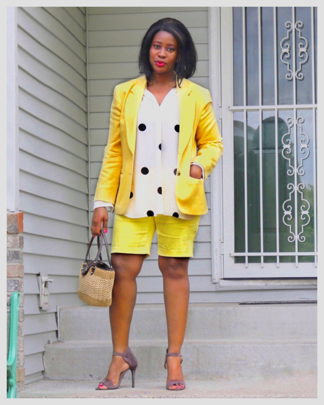 Beauty's Fashion Zone: Yellow Shorts Suit + Polka Dots