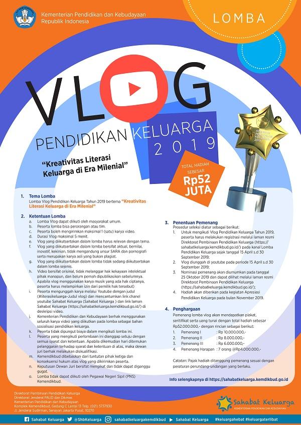 Lomba Video Blog (VLOG) dari Kemendikbud Untuk Gerakan Literasi Keluarga