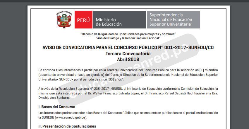 SUNEDU: Concurso Público Para la Selección de Miembro del Consejo Directivo de la Superintendencia Nacional de Educación Superior Universitaria - www.sunedu.gob.pe