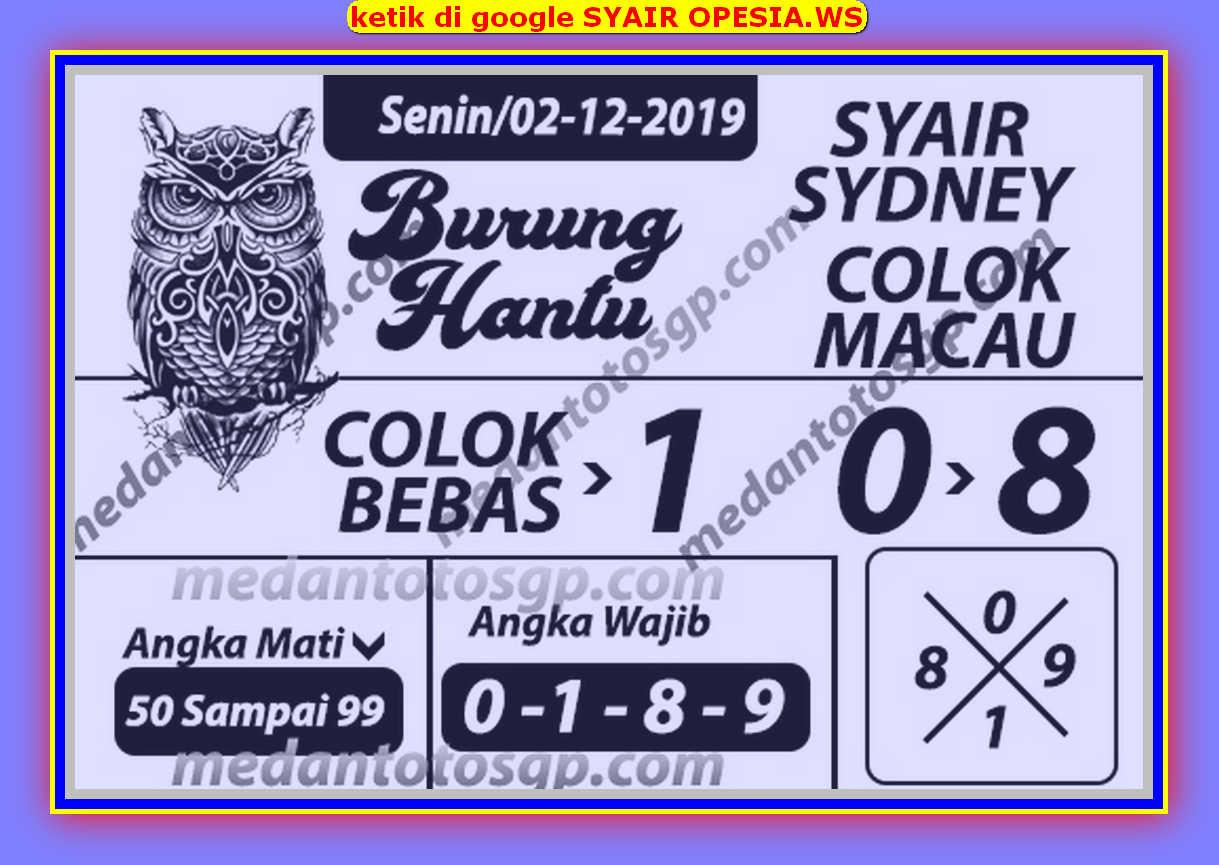 Kode syair Sydney Senin 2 Desember 2019 137