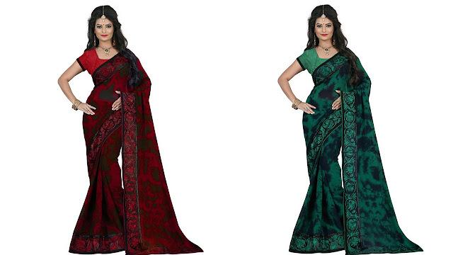 M.S.Retail Self Design Bollywood Georgette, Net Saree  (Green)