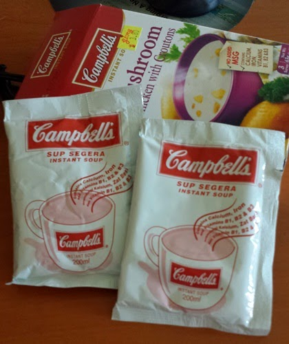 Cendawan ayam dengan crouton Campbell's, instant soup mushroom chicken with croutons Campbell's, sup segera perisa cendawan ayam dengan crouton jenama Campbell's harga: RM3.80