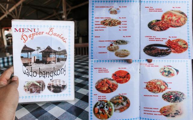 menu dapur basisir gado bangkong