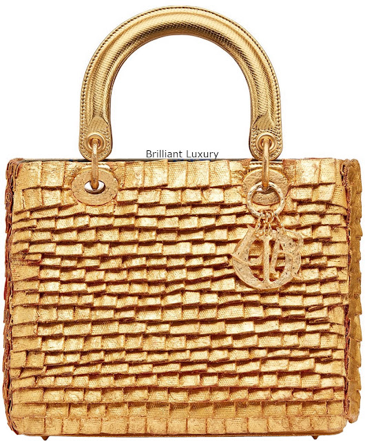Brilliant Luxury♦Lady Dior bag, embroidered cotton pieces covered with 24kt gold-hand-hammered and metal charms, designer Olga De Amaral