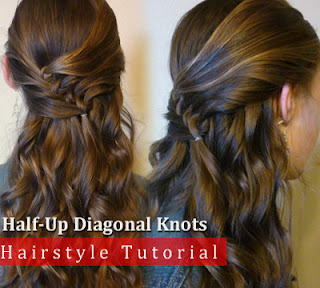 How To Make Half-Up Diagonal Knots Hairstyle, Checkout Tutorial