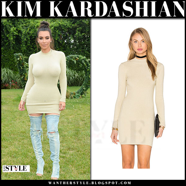 Kim Kardashian in beige trois revolve mini dress and thigh high boots what she wore