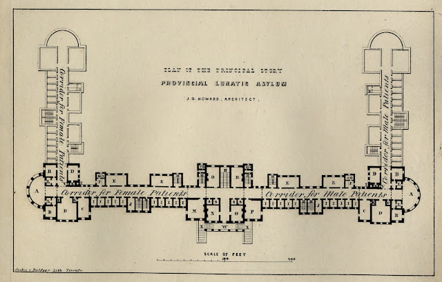Plan of the Principal Story - Provincial Lunatic Asylum, ca. 1847 by John G. Howard