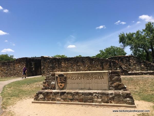 sign at Mission Espada in San Antonio Missions National Historical Park in San Antonio, Texas