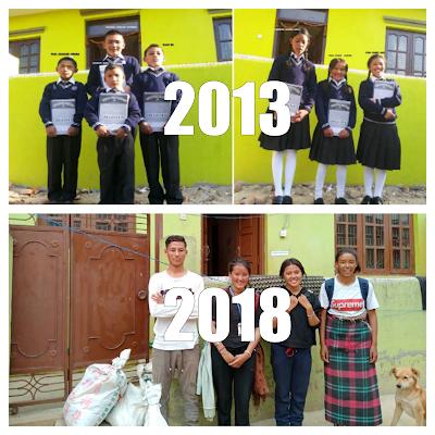 Arriba, Lhadon, Lhamo, Mingdi y Sonam en 2013 y abajo en 2018.