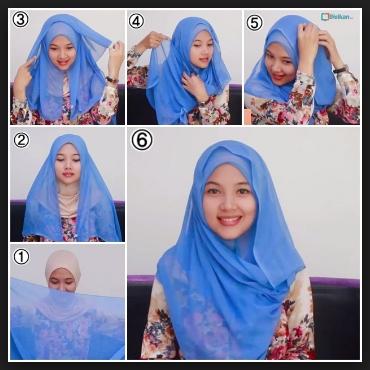 Tutorial hijab segi empat pesta