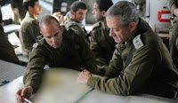 IDF chief Benny Gantz (R) overseeing a military exercise, Nov. 13, 2011.
