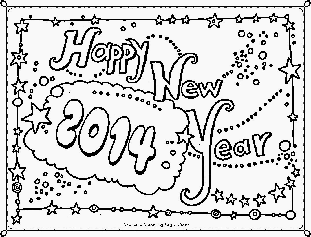Happy New Year 2014 Coloring Pages