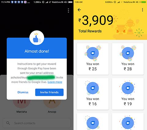Get unlimited cash rewards with Google Duo and Google Pay