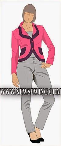 Patrón gratis americana, blazer o chaqueta corta con solapas de contraste