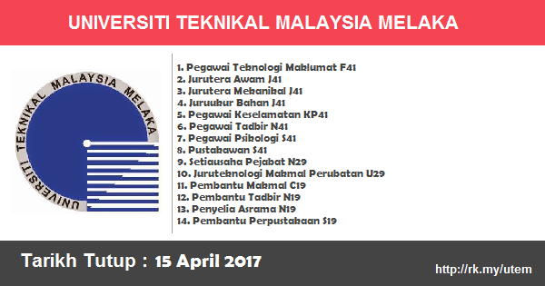 Jawatan Kosong di Universiti Teknikal Malaysia Melaka (UTeM)