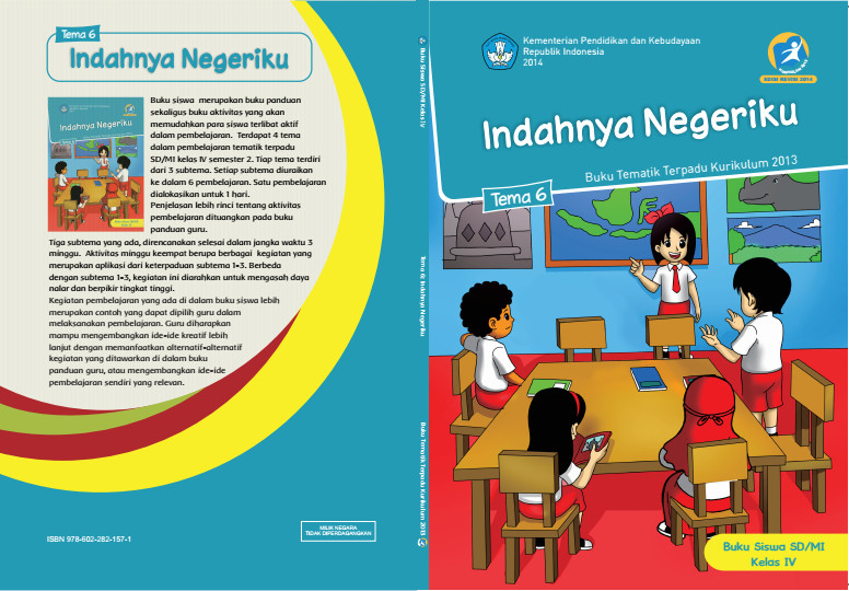 Download Buku Tematik Kurikulum 2013 SD/MI Kelas 4 Tema 6 Indahnya Negeriku Edisi Revisi Format PDF
