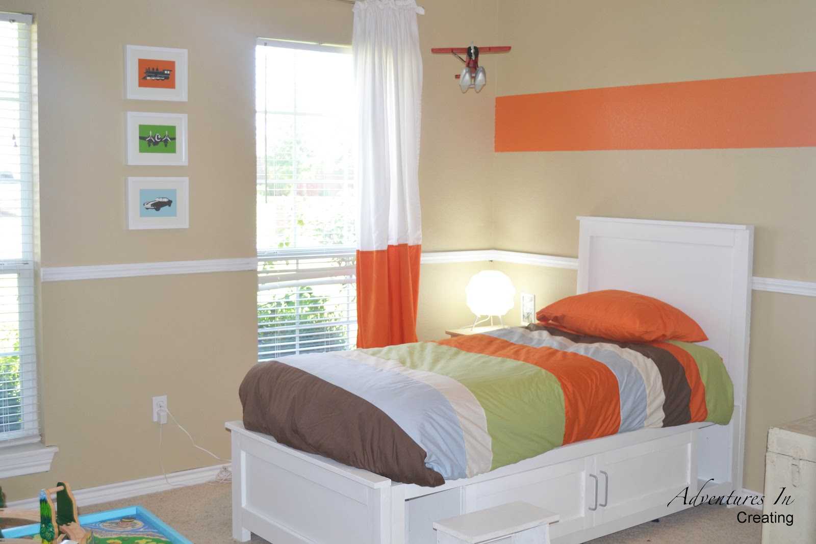 Accent Bed Boys Bedroom With Orange Accents