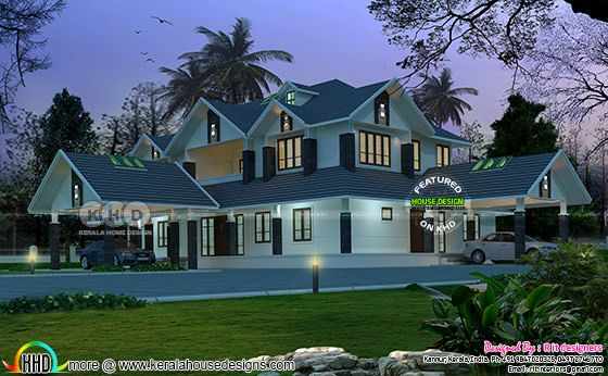 Sloping roof, 4 bhk luxurious house plan