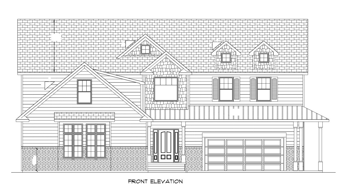 It is a graphic of Remarkable Front Elevation Drawing