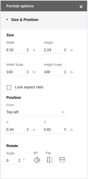 Controles de tamaño y posición en Presentaciones