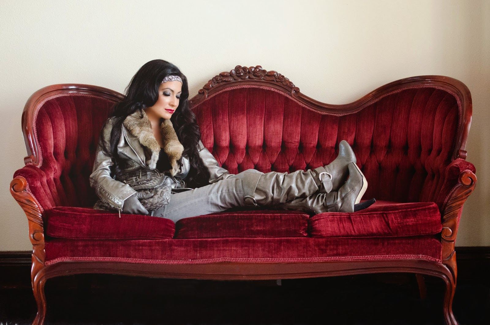 TCEC jacket Bamboo boots Tasha headband Abercrombie and Fitch jeans red velvet victorian French settee