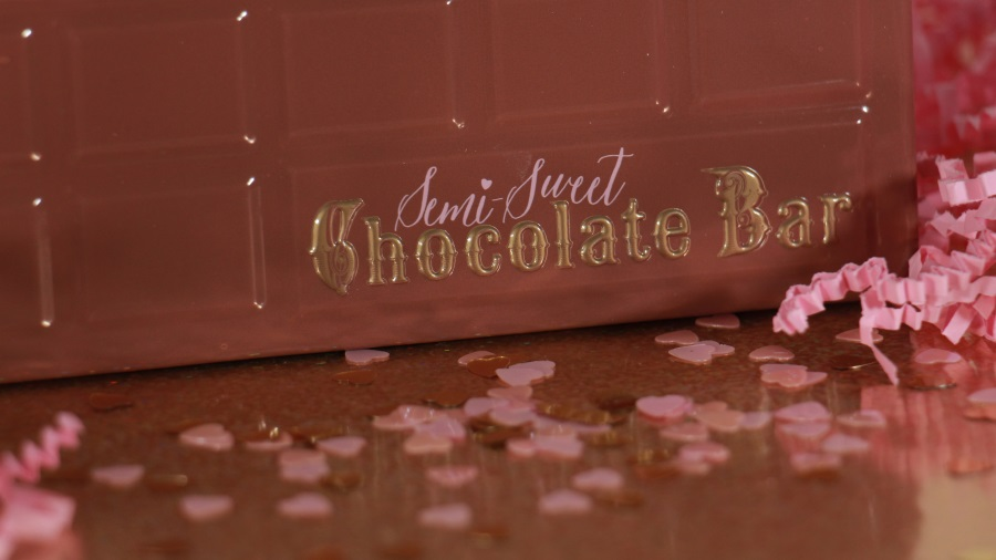 closeup semi sweet chocolate bar too faced