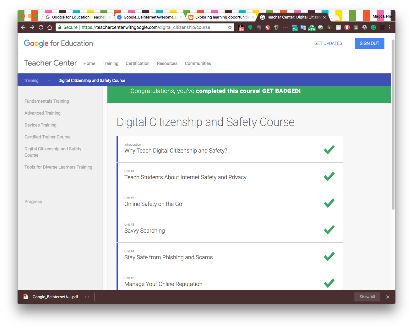 Googles Digital Citizenship And Safety Course Badge I Think