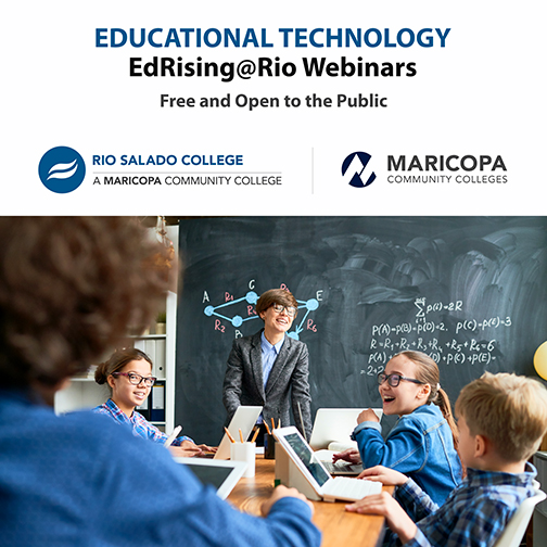 Poster for webinars.  Image of educators in a classroom working with young k-12 students using computer devices in a conventional classroom