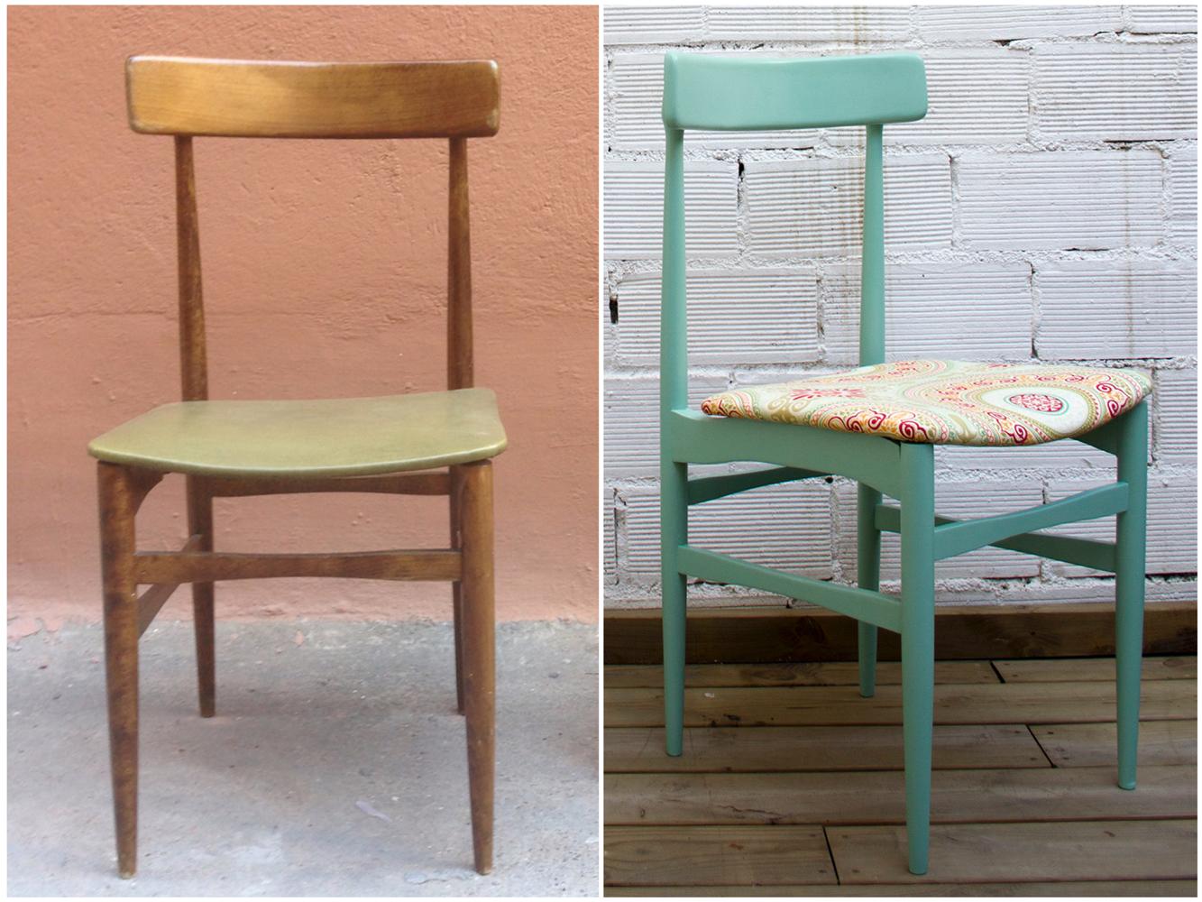 Antes y después - Silla nórdica pintada y tapizada- Studio Alis