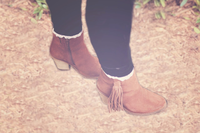 brown-tan-suede boots with tassle and low heels